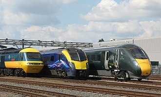 Great Western Railway (train operating company) - GWR InterCity 125, Adelante and Intercity Express Train at Old Oak Common depot during the 'Old Oak Common 111' open day. Showing the old British Rail InterCity livery, the previous First Group livery and the current GWR livery.