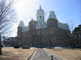 Section 17 of the Canadian Charter of Rights and Freedoms - The Legislative Assembly of New Brunswick building, where members may speak English or French.
