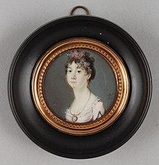 Portretminiatuur van Augusta Carolina Prinses van Hohenlohe-Langenburg