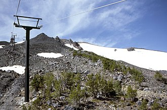 Mount Bachelor - The chair lift to Mount Bachelor's summit, as seen in 1986
