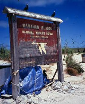 Northwestern Hawaiian Islands - The reserve sign on Lisianski
