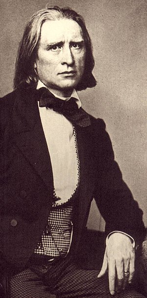 New German School - Franz Liszt, one of the principal animators of the 'New German School'. Detail of a photo by Franz Hanfstaengl, 1858