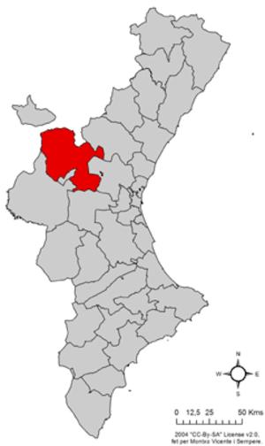 Los Serranos - Image: Localització dels Serrans respecte del País Valencià