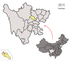 Location of Mianzhu City (red) within Deyang City (yellow) and Sichuan province