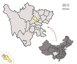 Mianzhu - Image: Location of Mianzhu within Sichuan (China)