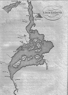 A black and white map showing the sinuous shape of Loch Lomond, which contains numerous islands in the southern portion.