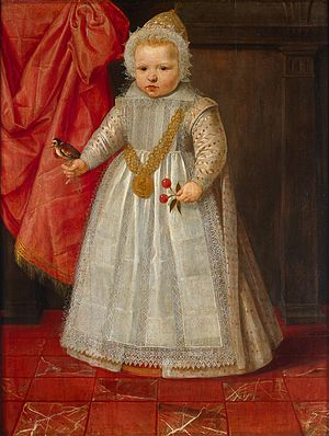 Daniël van den Queborn - A male child 18 months old in 1604, possibly Lodewijk, the illegitimate son of Prince Maurits. The bird on the hand symbolizes a future as a falconer, a sport reserved for nobility.