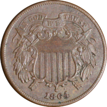 A bronze coin with a shield in the center, dated 1864.