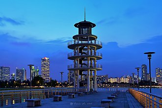 Kallang - Lookout tower at Tanjong Rhu overlooking Kallang Basin and the Downtown Core.