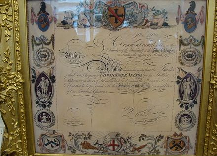 Lord Nelson's certificate given him after becoming a Freeman of the City of London showing that he has Freedom Lord Nelson's certificate given him after becoming a Freeman of the City of London.jpg