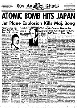 Los Angeles Times front page 6 August 1945