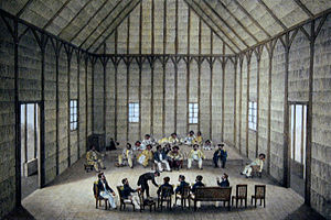 Alexis Bachelot - 1837 painting of King KamehamehaIII meeting with Captain Du Petit Thouars and Captain Edward Belcher