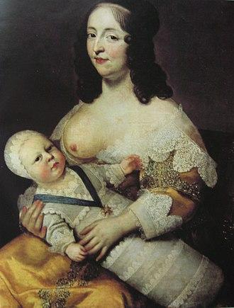 Wet nurse - Louis XIV as an infant with his nurse Longuet de la Giraudière