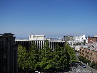 Lower Queen Anne, Seattle - View of Uptown from Queen Anne Ave. N and W Republican St.