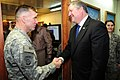 Lt. Gen. William B. Caldwell IV, commander NATO Training Mission - Afghanistan, greets the Honorable Michael Donley (4330616382).jpg