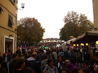 Lucca Comics & Games - Crowd in Vittorio Veneto street during the Lucca Comics and Games 2012
