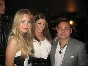 Lucy Pinder - Nuts party, February 2009: Pinder (middle) with friends