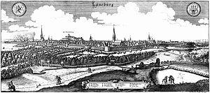 Lüneburg station - Matthäus Merian cityscape of Lüneburg, which served as the basis for the mural
