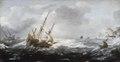 Målning. Fatyg i storm vid klippig kust. Jan Porcellis - Hallwylska museet - 86698.tif