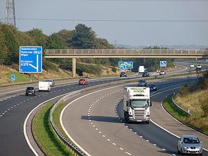 M58 motorway - Junction 3 (eastbound exit) near Bickerstaffe.