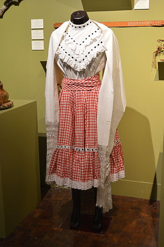 Norteño (music) - Dress to dance polka and redova from Nuevo León, displayed at the Museo de Arte Popular in Mexico City