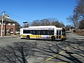 MBTA route 59 bus turning at Needham Junction, March 2016.JPG