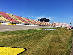 Michigan International Speedway - Michigan International Speedway's front stretch, view from the infield early on race day.