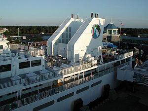 "Cape May–Lewes Ferry - The ""shark's fin"" stacks of the MV Delaware, pictured at the Lewes, Delaware, terminal, on July 6, 2004."