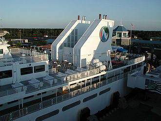 """Cape May–Lewes Ferry - The """"shark's fin"""" stacks of the MV Delaware, pictured at the Lewes, Delaware, terminal, on July 6, 2004."""