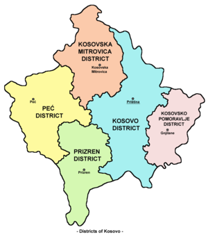 Districts of Serbia - Districts in Kosovo and Metohia.