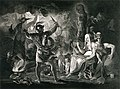 Macbeth, the three witches, Hecate, and the eight kings, in a cave. Stipple print by R. Thew after J. Reynolds, 1 December 1802.jpg