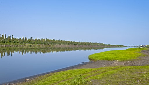 Mackenzie River east channel at Tuktoyaktuk Winter Road junction