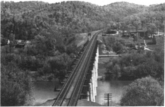 Magnolia, West Virginia - View of completed bridge in 1950s