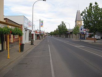 Clare, South Australia - Main North Road, looking north (Note the former town hall on the right side of main street)