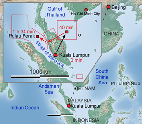 Regional map depicting origin & destination of flight, known path from radar, and initial search areas in South China Sea, Malaya Peninsula, and Strait of Malacca.