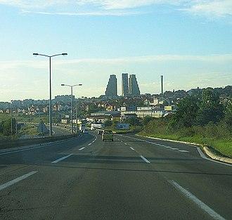Eastern City Gate - Eastern Gate, as seen from Mali Mokri Lug, domineering the skyline of eastern Belgrade