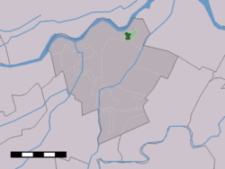 The town centre (dark green) and the statistical district (light green) of Lexmond in the municipality of Zederik.