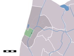 The village centre (darkgreen) and the statistical district (lightgreen) of Sint Maartensvlotbrug in the former municipality of Zijpe.