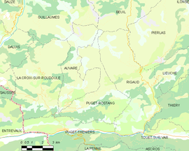 Mapa obce Puget-Rostang