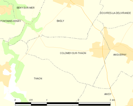 Mapa obce Colomby-sur-Thaon
