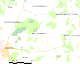 Mapa obce Marly-sur-Arroux