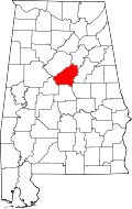 Map of Alabama highlighting Shelby County