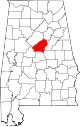 Map of Alabama highlighting Shelby County.svg