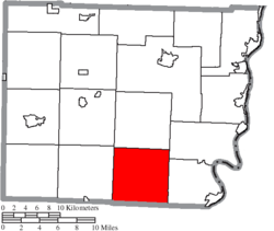 Location of Washington Township in Belmont County