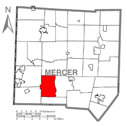 Location of Lackawannock Township in Mercer County