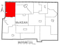 Map of McKean County, Pennsylvania highlighting Corydon Township