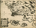 Map of Methoni, showing the place of the Venetian and Ottoman fleet during the Battle of Lepanto (1571) - Camocio Giovanni Francesco - 1574.jpg