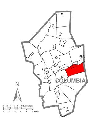 Mifflin Township, Columbia County, Pennsylvania - Image: Map of Mifflin Township, Columbia County, Pennsylvania Highlighted