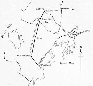 Portland–Lewiston Interurban - 1915 map of the Portland–Lewiston Interurban and connecting lines