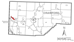 Map of Pymatuning North, Crawford County, Pennsylvania Highlighted.png
